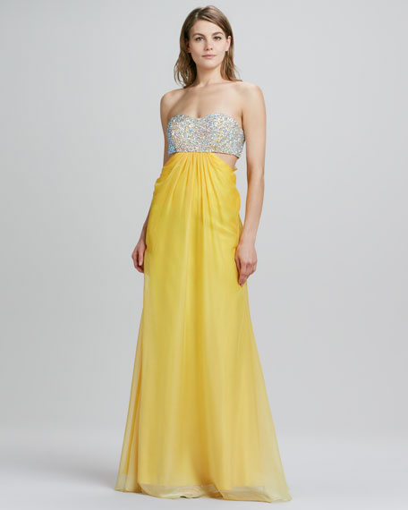 Strapless Sequined-Top Gown