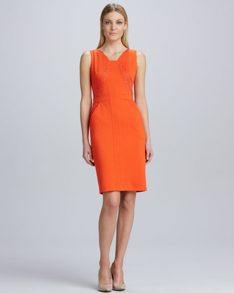 Lace-Paneled Sheath Dress