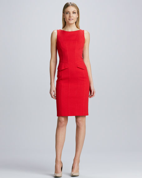 Sleeveless Mini-Peplum Sheath Dress