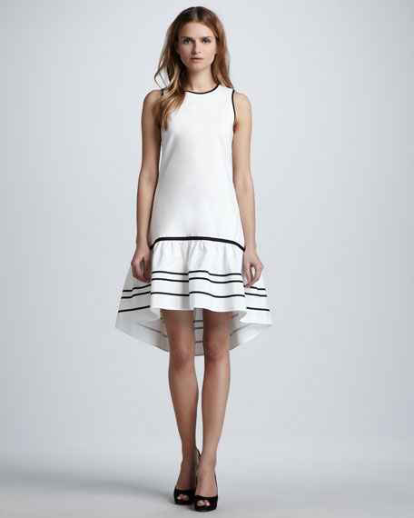Hi-Lo Ruffle-Hem Dress, Ivory/Black