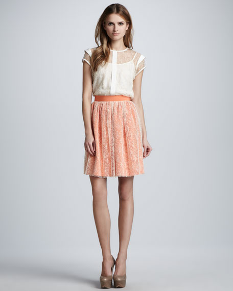 Dotted-Overlay Pleated Skirt