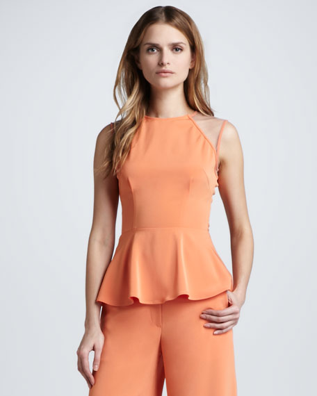Mesh-Panel Peplum Top