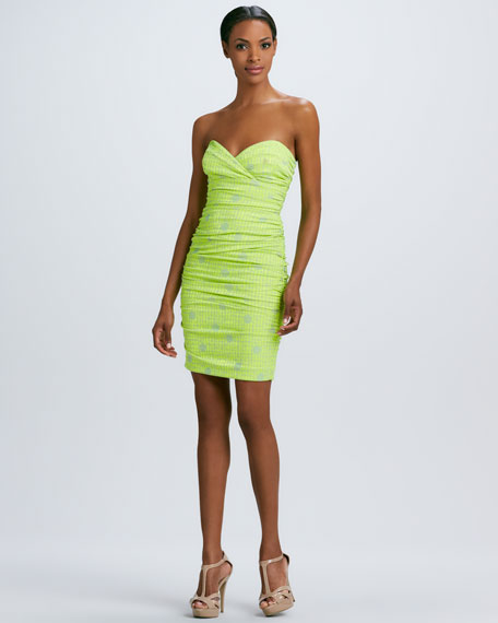 Printed Strapless Ruched Dress