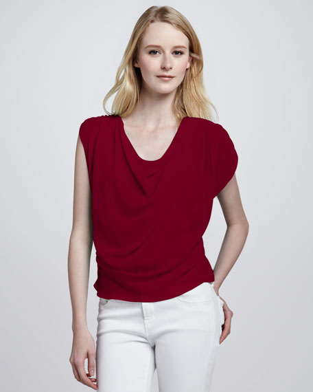 Jordan Cowl-Neck Silk Top