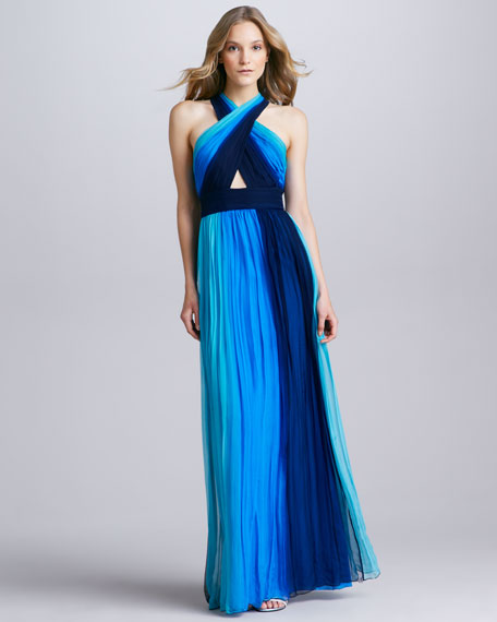 Jaelyn Ombre Cross-Neck Maxi Dress