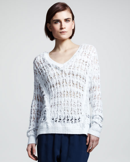 Vicky Open-Knit V-Neck Sweater