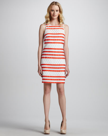 Jewel-Neck Lace & Ribbon Dress