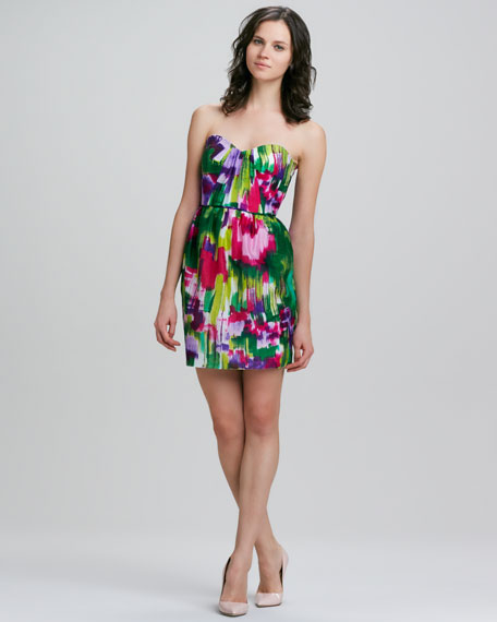 Julieanne Strapless Printed Dress