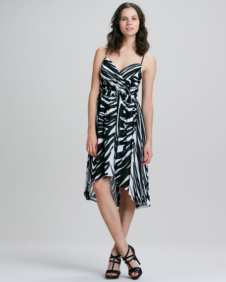 Alicia Spring Striped High-Low Maxi Dress