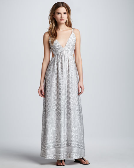 Printed Open-Back Maxi Dress