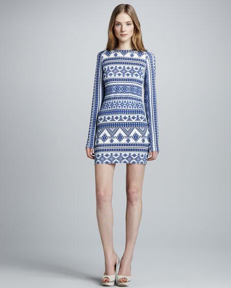 Geometric-Print Mesh-Back Dress