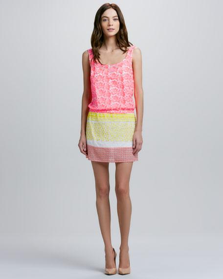 Scoop-Neck Mixed Media Dress
