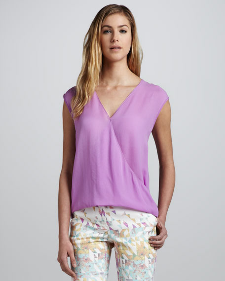 Sleeveless V-Neck Wrapped Top