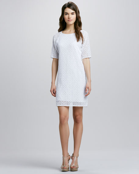 Short-Sleeve Lace Shift Dress