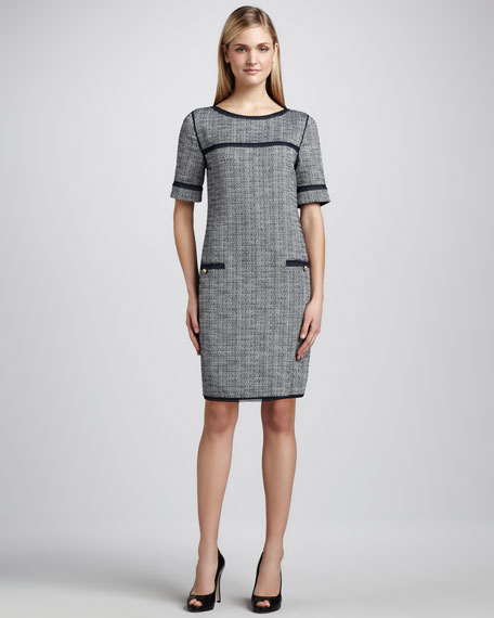 Boucle Solid-Trimmed Dress