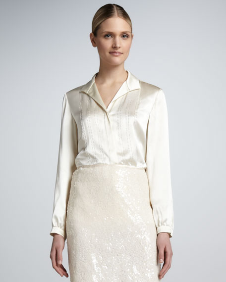 Silk Charmeuse Embellished Blouse