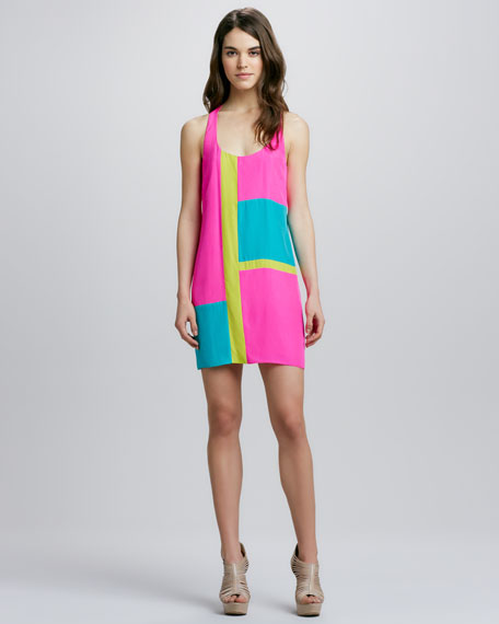 Mae Colorblock Halter Minidress