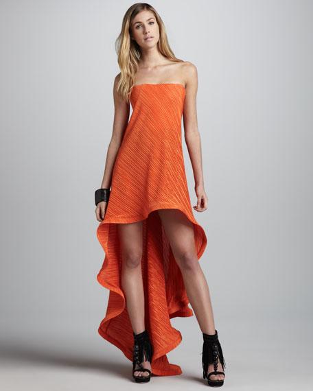 Azia Strapless Ruffled Hi-Lo Dress