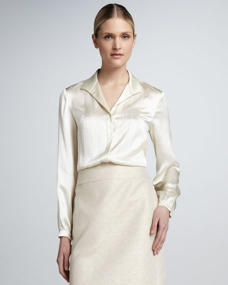 Silk Charmeuse Embellished Blouse, Ecru