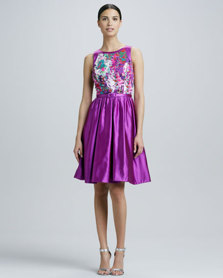 Jewel-Neck Printed Bodice Party Dress