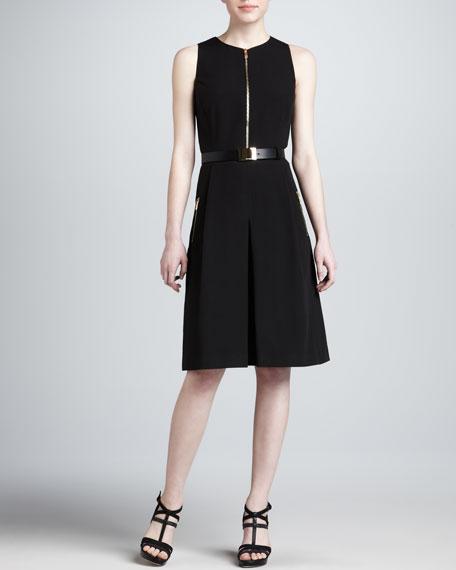 Zip-Front Sleeveless Dress