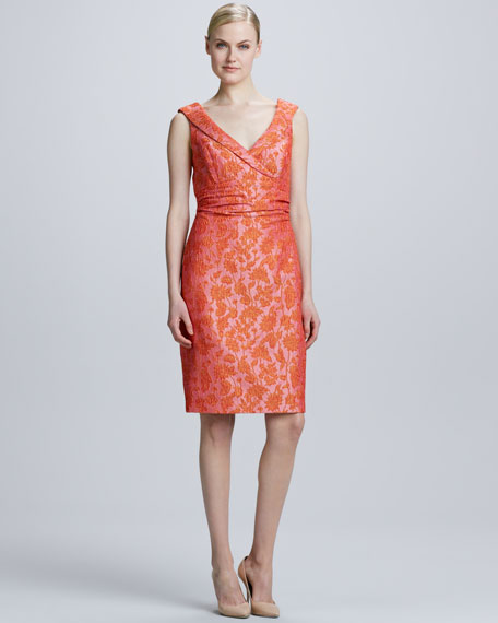 Shawl Collar Floral Jacquard Dress