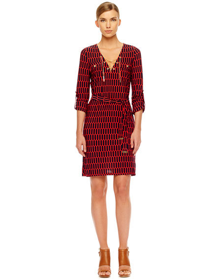 Printed Lace-Up Dress, Women's