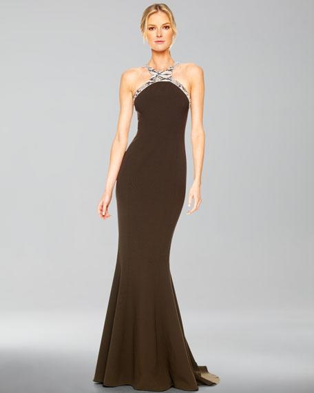 Faux-Python Halter Gown, Cinnabar, Teak