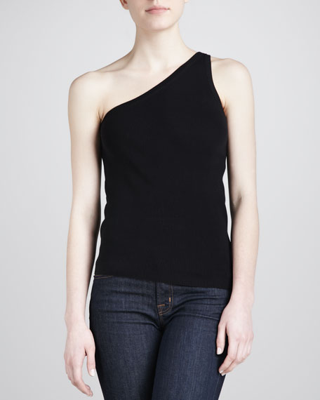 One-Shoulder Tank, Black