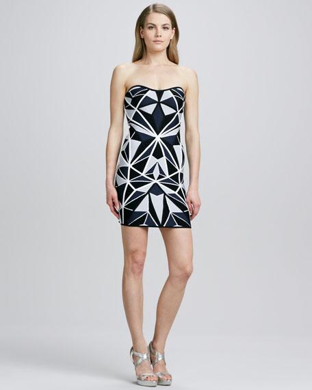 Strapless Geometric-Pattern Dress