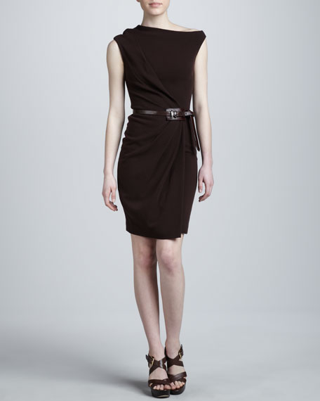 Super-Stretch Crepe Dress, Burgundy