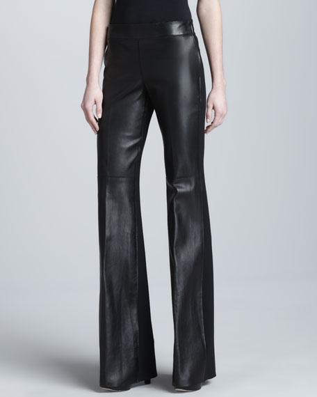 Leather/Crepe Wide-Leg Pants