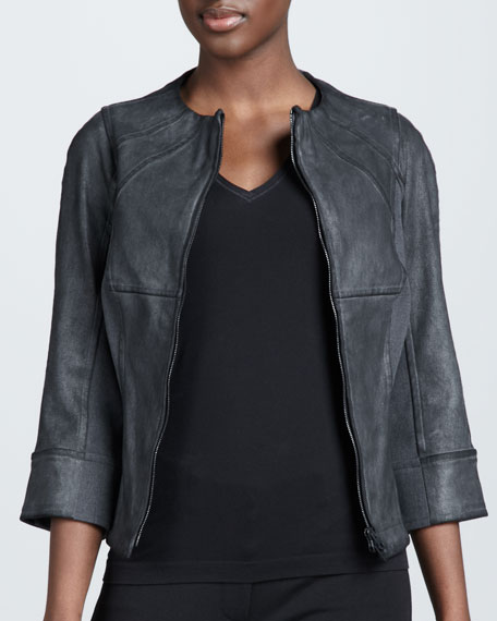 Leather-Front Jacket