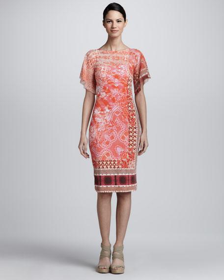 Mixed-Print Flutter-Sleeve Dress, Orange/Multicolor