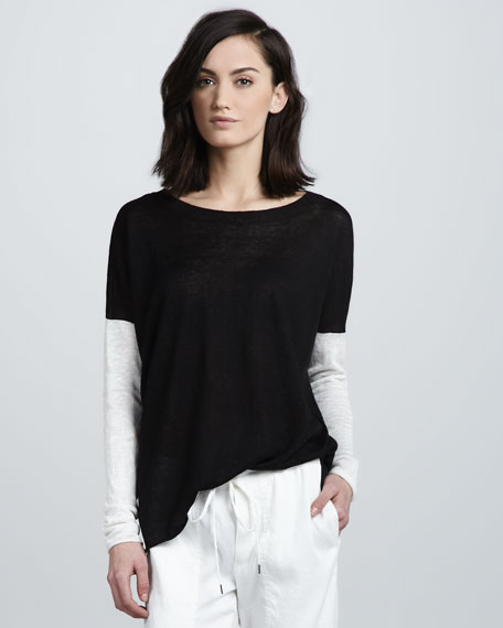 Drop-Shoulder Slub Sweater