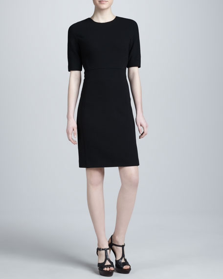 Boucle Crepe Shift Dress, Black