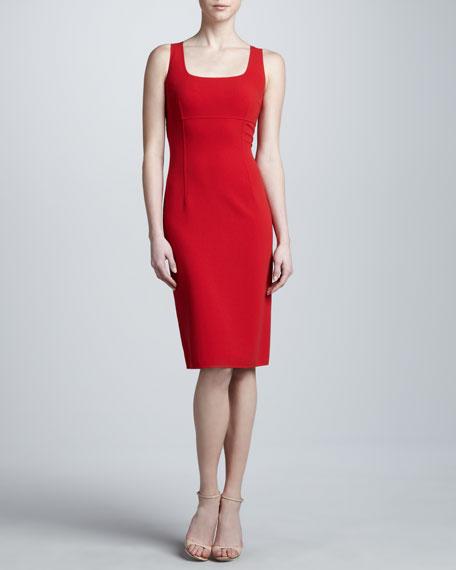 Sleeveless Crepe Sheath Dress