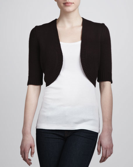 Cashmere Half-Sleeve Shrug, Chocolate