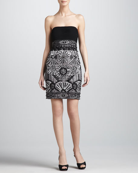 Beaded Strapless Cocktail Dress
