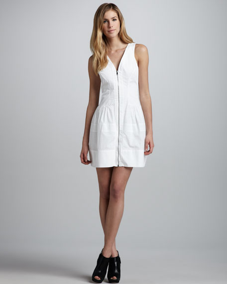 Perforated Front-Zip Dress