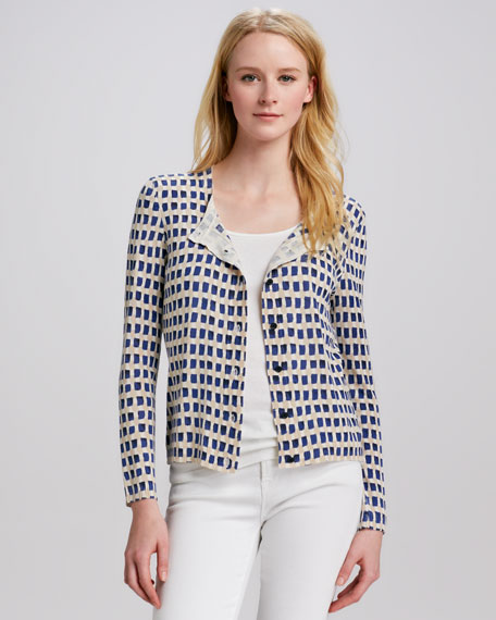 Taho Window-Pane-Print Cardigan
