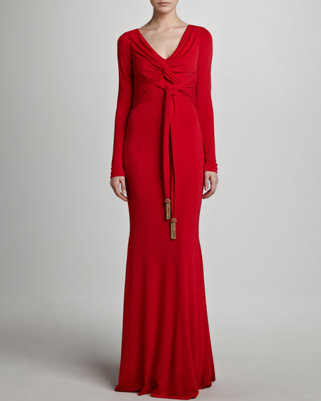 Long-Sleeve Gown, Red