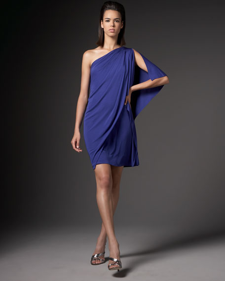 One-Shoulder Drape Jersey Dress