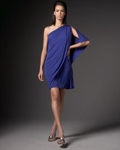 One-Shoulder Drape Jersey Dress