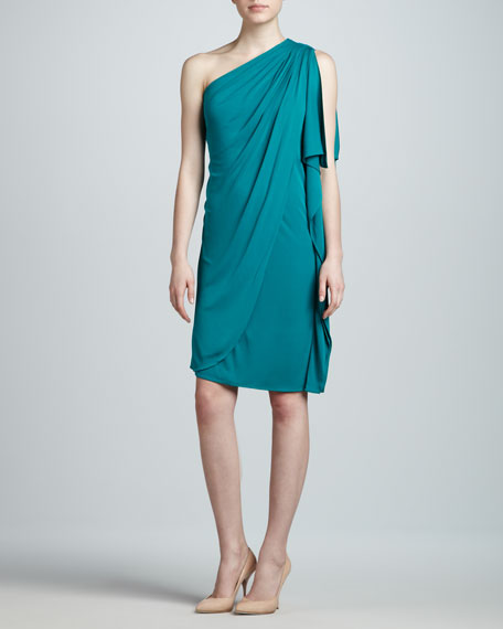 One-Shoulder Cocktail Dress, Jade