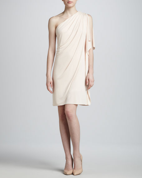 One-Shoulder Cocktail Dress, Peach