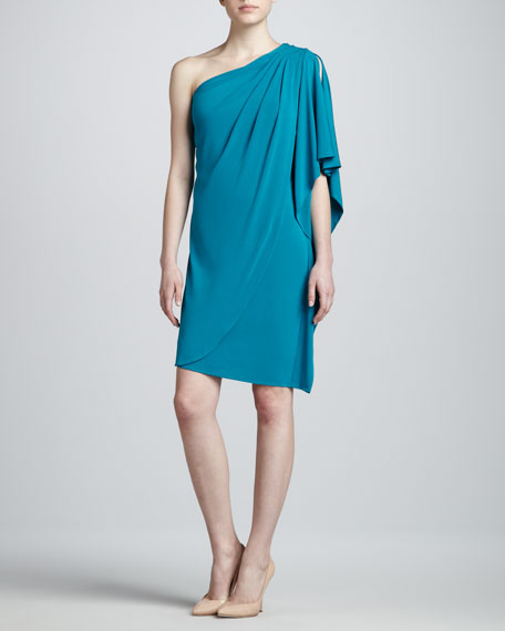 One-Shoulder Cocktail Dress, True Blue