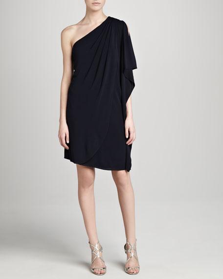 One-Shoulder Cocktail Dress, Navy