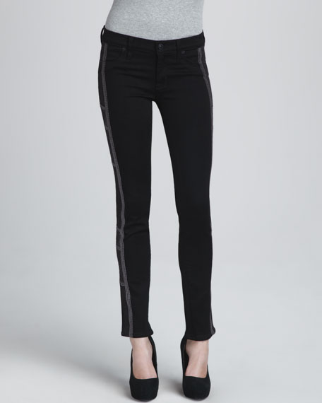 Tamara Skinny Embroidered Pewter Jeans
