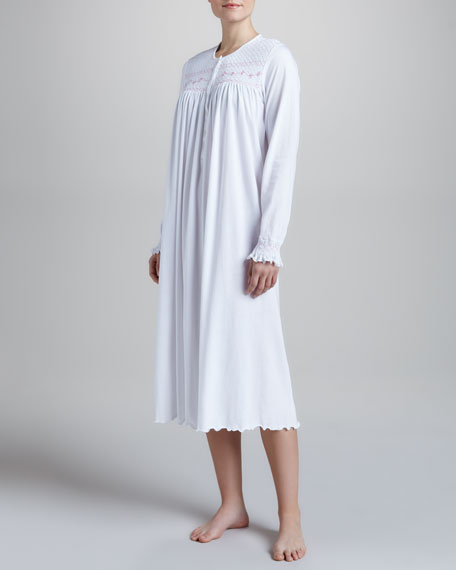 Herminia Jersey Smocked Nightgown